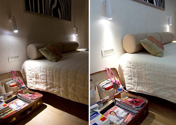 Поворотные светильники в интерьере спальни